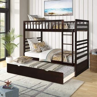 Milk white triple bunk twin bed for kids from Civil Furniture