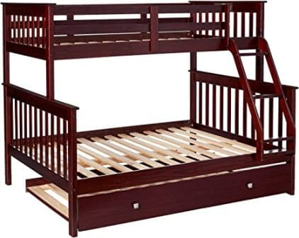 Mission two-decker dark grey twin-size bunk bed with trundle from Donco Kids