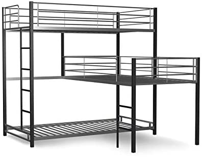 Sand black metal triple bunk bed from Furniture of America