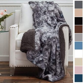 The Connecticut Home Company Luxury Faux Fur Throw Blanket