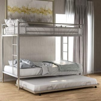 White double-decker with trundle metal bunk bed for teenagers from Merax