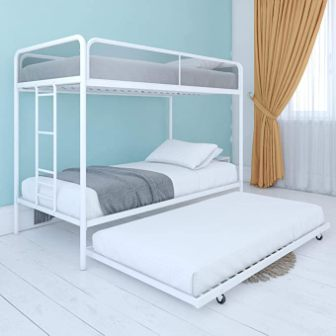 White metal-framed triple bunk bed from DHP