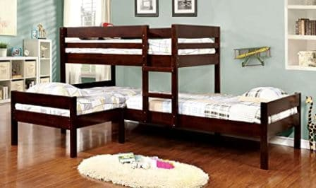 Wooden Espresso triple bunk bed from Furniture of America