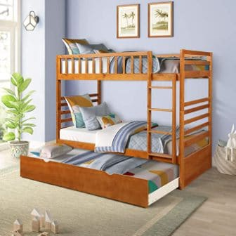 Wooden oak triple bunk bed for Kids from Civil Furniture