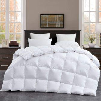 ROSECOSE Luxurious Goose Down Comforter Queen Duvet Insert All Seasons Solid White Hypo-allergenic