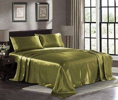 Satin Sheets Queen [4-Piece, Black] Hotel Luxury Silky Bed Sheets by Pure Linen