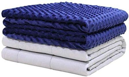 TBI Pro Premium Weighted Organic Blanket with Soft Cover for Kids and Adults