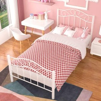 MECOR TWIN XL CURVED METAL BED FRAME