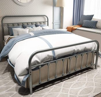 Temmer Metal Queen Bed Frame with Headboard and Footboard