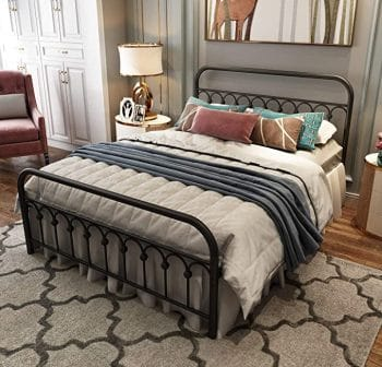 Tuseer Queen Bed Frame with Vintage Headboard and Footboard