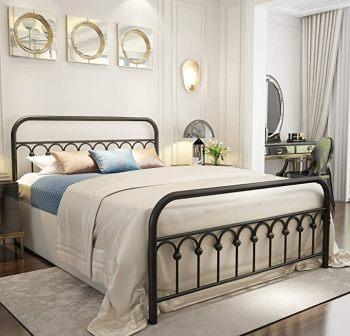 VINTAGE STURDY BLACK QUEEN-SIZED BED FRAME