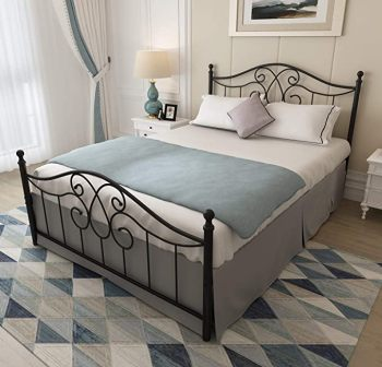 Yalaxon Vintage Queen Bed Frame with Headboard and Footboard