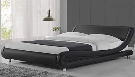 Amolife Modern Queen Solid Faux Leather Platform Bed Frame with Wood Slat Support (Black with White Border) (Top Pick)