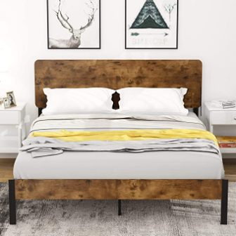 Amolife Queen Metal Bed Frame with Wood Headboard