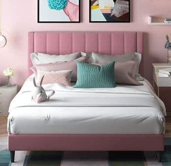 Amolife Queen Size Tufted Upholstered Pink Platform Bed Frame
