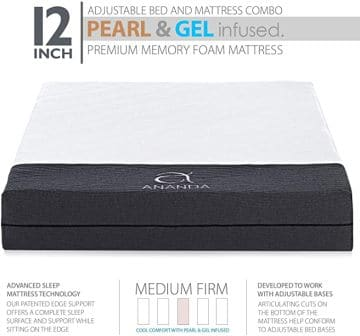 "Ananda 12"" Pearl and Cool Gel Infused Mattress with Premium Adjustable Bed Frame"