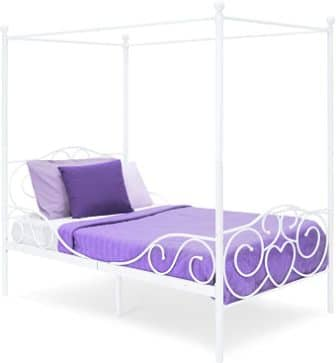 Best Choice Products 4 Post Metal Canopy Twin Bed Frame w/Heart Scroll Design