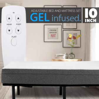 Blissful Nights Adjustable Bed with 10-Inch Memory Foam Mattress Combo