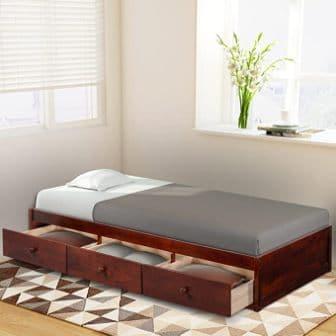 Civil Furniture Wood Platform Bed with 3 Drawers
