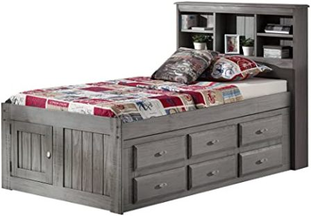 Discovery World Furniture Bookcase Captains Bed with 6 Drawer Storage, Twin