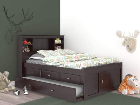 Discovery World Furniture Espresso Full Bookcase Bed with 3 Drawers and Trundle