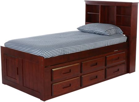 Discovery World Furniture Twin Captains Bed Bookcase with 6 Drawers