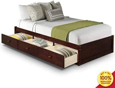 Hooseng Wood Platform Captain Storage Bed