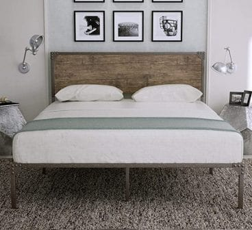 Industrial Queen Size Metal Platform Bed Frame with Headboard