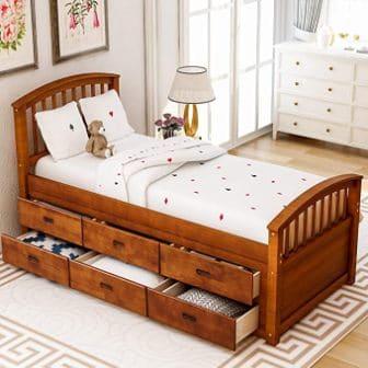 MERITLINE Platform Bed with 6 Drawers
