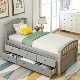 Meritline Storage Platform Bed with 6 Drawers