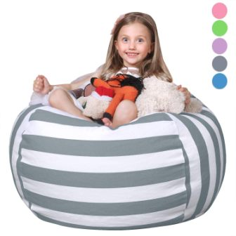STUFFED ANIMAL ROUND BEAN BAG WITH STORAGE AND ZIPPER