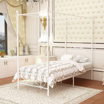 Twin-size canopy bed by JURMERRY