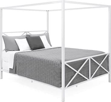 White 4-post canopy bed from Best Choice Products