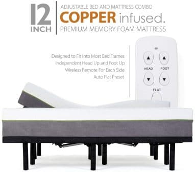 "Blissful Nights Split California King Adjustable Bed Frame with 12"" Mattress"