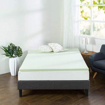 1.5-inch green tea and gel-infused memory foam mattress topper by Zinus