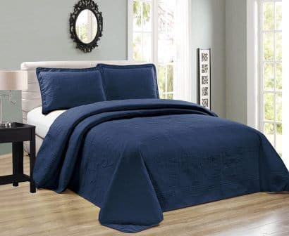 MK Collection Navy Blue 3-Piece Coverlet Set