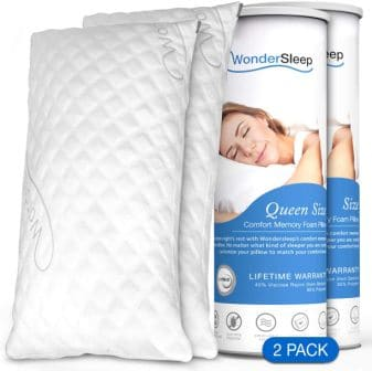 Set of 2 washable and removable memory foam pillow by WonderSleep