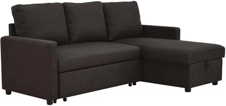 Acme Hiltons Linen Sectional Sofa with Sleeper and Storage
