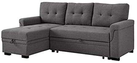 Bowery Hill Linen Sectional Sleeper Sofa with Storage