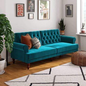 Cassidy Velvet Convertible Couch for Novogratz