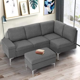 Esright Sectional Sofa Couch with Ottoman