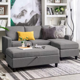 Honbay Sectional Sofa Couch with Storage Ottoman