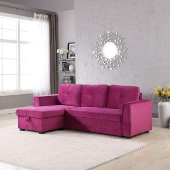 Legend Furniture Velvet Sectional Sofa Sleeper with Storage