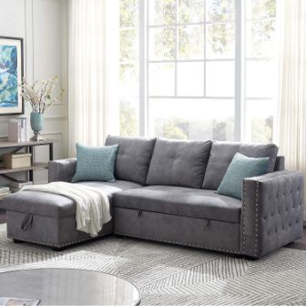 Merax Sectional Sleeper with Storage Chaise