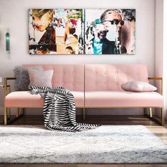 Modern Velvet Futon With Gold Frame by CosmoLiving