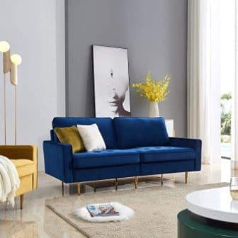 Modern Velvet Tufted Futon with Throw Pillows by Artiron